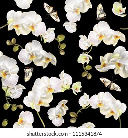 Vector vertical seamless pattern with white orchid flowers and butterflies on black. Floral background design for cosmetics, perfume, beauty care products. best as fabric print and wrapping paper