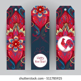 Vector vertical tags with illustration of rooster, symbol of 2017 on the Chinese calendar. Silhouette of red cock, decorated with floral patterns. Element for New Year's design. Year of Red Rooster.
