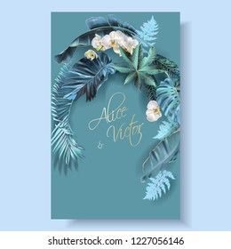 Vector vertical wedding invitation card with blue, turquoise tropical leaves and orchid flowers. Fantastic botany design for wedding ceremony. Can be used for cosmetics, beauty salon