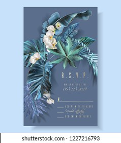Vector vertical wedding invitation card with blue, turquoise, purple tropical leaves and orchid flowers. R.S.V.P. fantastic botany design for wedding ceremony. Can be used for cosmetics, beauty salon