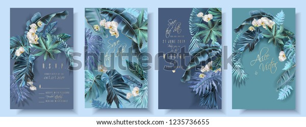 Vector vertical wedding invitation card set with turquoise tropical leaves and orchid flowers. Save the date and R.S.V.P. botany design for wedding ceremony. Can be used for cosmetics, beauty salon