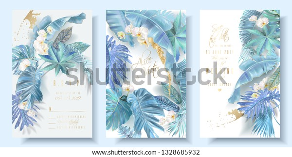 Vector vertical wedding invitation card set with light blue tropical leaves and orchid flowers. Save the date and R.S.V.P. botany design for wedding ceremony. Can be used for cosmetics, beauty salon
