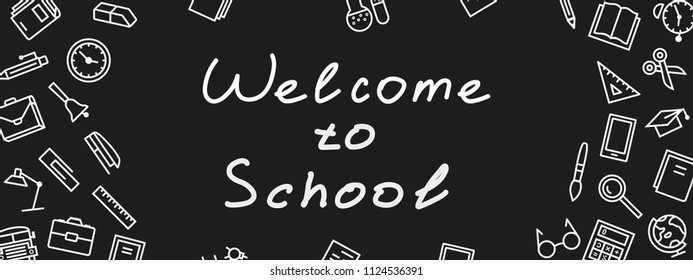 vector vertical welcome to school banner on black color chalkboard with education supplies for poster, party, super sale offer. Illustration 10 eps