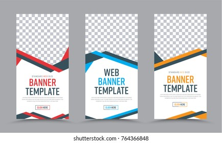 Vector vertical white  banners design in a place for a photo. Web Templates with abstract tangled color lines, arrows and buttons.