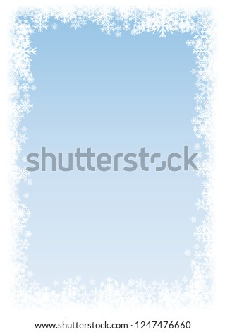 bdad00371969 Vector Vertical Winter Background. A cold Christmas. Frame made of snowfall and  ice crystals - Vector