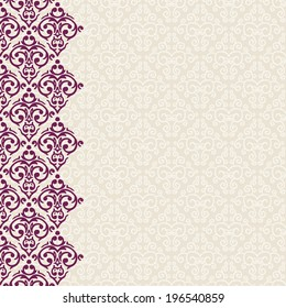 Vector vertically seamless baroque damask luxury frame border