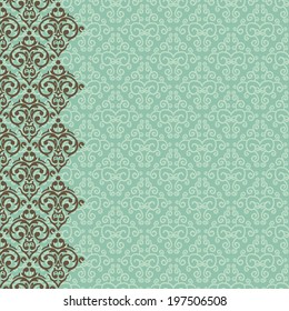 Vector vertically seamless baroque damask luxury border