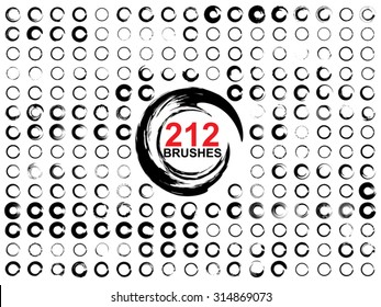 Vector very large collection or set of 212 black paint hand made creative round circle brush strokes isolated on white background, metaphor to art, grunge, grungy, graffiti, education, abstract design