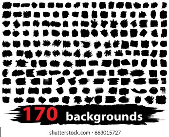Vector very large collection or set of 170 artistic black paint or ink hand made creative brush stroke backgrounds isolated on white as grunge or grungy art, education abstract elements frame design