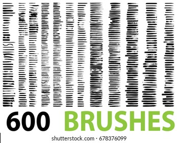 Vector very large collection or set of 600 artistic black paint or ink hand made creative brush stroke backgrounds isolated on white as grunge or grungy art, education abstract elements frame design