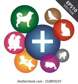 Vector : Veterinary Care, Pet Hospital or Pet First Aid Sign Present By Group of Colorful Icon ( Cat, Dog, Bird and Fish Sign ) Around Isolated on White Background