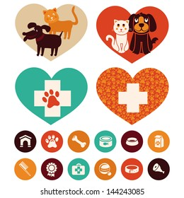 Vector veterinary emblems and signs - cat and dog cartoon icons