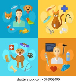 Vector veterinary icons set. Cat, dog, fish, parrot, doctors, pets, medical tools.