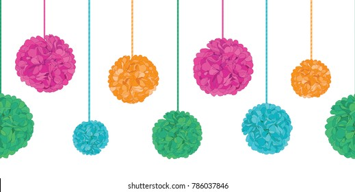 Vector Vibrant Colorful Birthday Party Paper Pom Poms Set On Strings Horizontal Seamless Repeat Border Pattern. Great for handmade cards, invitations, wallpaper, packaging, nursery designs.