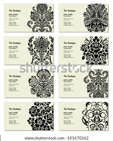 Vector Victorian Business Card Set Easy Stock Vector Royalty Free