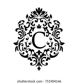 Vector. Victorian style. Ornate element for design and place for text and letters C. Ornamental patterns for wedding invitations, birthday and greeting cards.