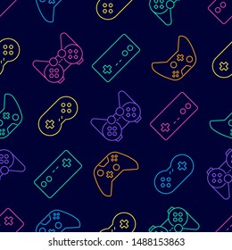 Vector video game and esport device set outline seamless pattern background.