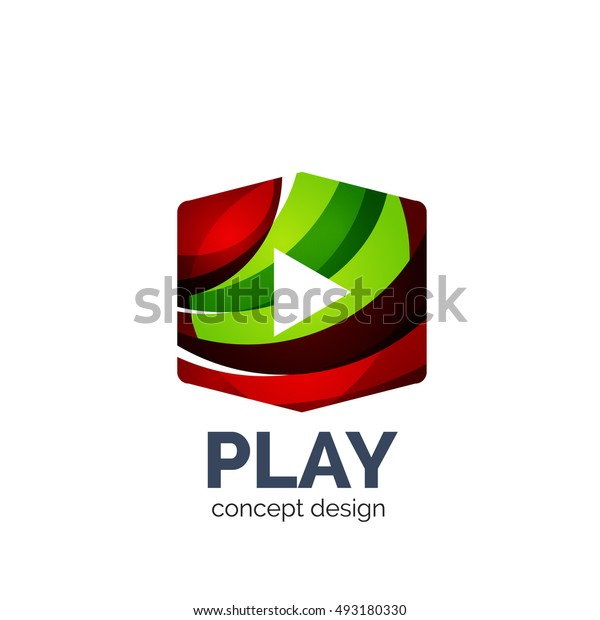 Vector video play logo template. Colorful unusual business icon