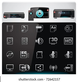 Vector video players features and specifications icon set