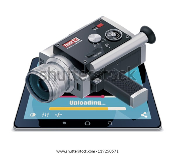 Vector video upload icon. Includes image of tablet, retro video camera and uploading file progress bar on the screen