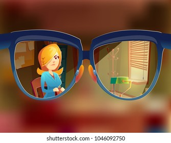 Vector view from the glasses at woman customer. Myopia, short-sightedness concept. Sight at client in working space, study room interior. Businesswoman in agency with order.