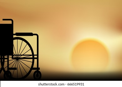 vector view point twilight, wheelchair silhouette sunset illustration concept background