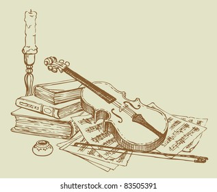 Vector vignette. Sketch a still life of a violin against a background of old books and pages with notes about the candlestick and ink