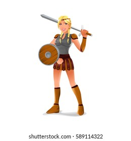vector of viking female with shield and sword