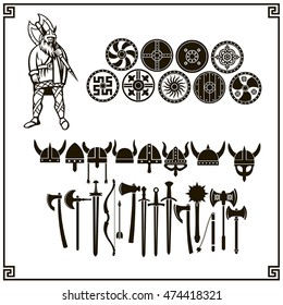Vector Viking and set of weapons, shields and helmets on a white background