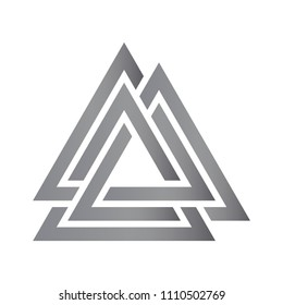Vector Vikings Norse distressed grungy symbol illustration: Valknut. Silver Valknut rune as the pagan symbol of the Germanic peoples and viking norse paganism.