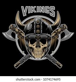 Vector of Vikings Skull Warrior Emblem Vector Illustration