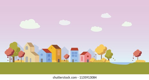 Vector village illustration with small houses in autumn. Simple clean design. Each building isolated, so can be moved.