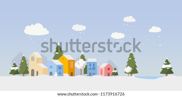 Vector Village Illustration Small Houses Winter Stock Vector