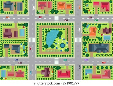 Vector village and park view from top flat graphic