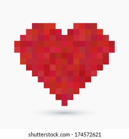 Vector vintage 8-bit love concept background illustration