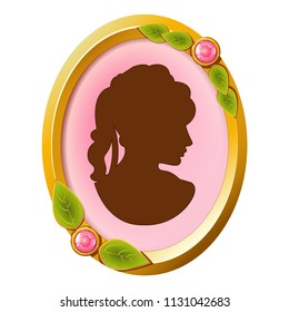 Vector vintage accessory - cameo with golden frame, gem stones, leaves decoration and silhouette of a woman