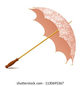 Vector vintage accessory -  umbrella with white laces, floral motifs, golden stick and wooden handle