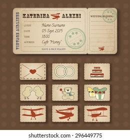 Vector vintage airline ticket, wedding  invitation in retro style