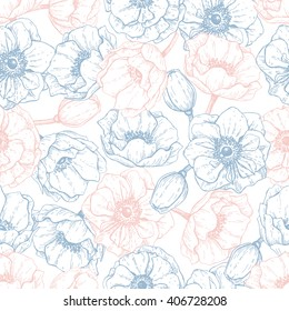 Vector vintage anemone seamless pattern in trendy colors 2016. Rose quartz and serenity. Great for wedding invitations, birthday, valentine's, save the date and greeting cards. Engraved decor element