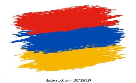Vector vintage Armenia flag. Drawing flag of Armenia in grunge style.