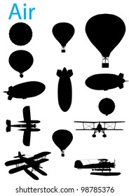 Vector Vintage Aviation Silhouette Set