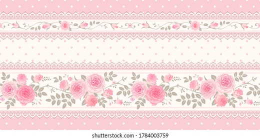 Vector vintage background, border. Seamless floral pattern with pink roses and laces for wallpaper, fabric, gift wrap, digital paper, fills, etc. Shabby chic style