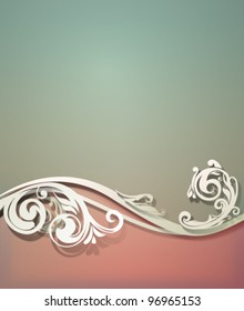 Vector vintage background with swirling floral border and soft shadows which are pure vector