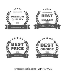 "Vector vintage badges collection ""Premium quality"", ""Best seller"", ""Best price"" and ""Best choice"""