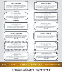 Vector Vintage Banners,Borders and Frames set, Victorian book covers and pages decorations, Floral style ornamental decor, creative design elements for books, certificates, awards and diplomas.
