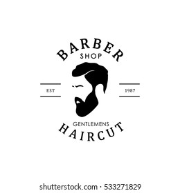 Vector vintage barber shop logo for your design. For Label, Badge, Sign or Advertising. Hipster Man, Hairdresser Logo.