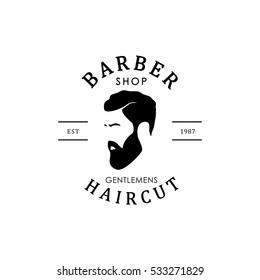 Vector vintage barber shop logo for your design. For Label, Badge, Sign or Advertising. Hipster Man, Hairdresser Logo.