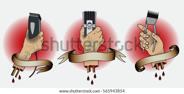 Vector Vintage Barbershop Traditional Tattoo Designs Stock Vector