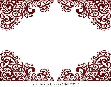 Vector vintage baroque border frame card background flower motif arabic retro pattern ornate