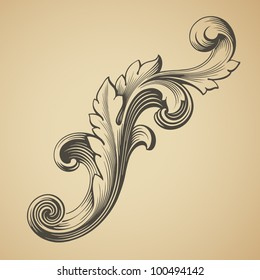 vector vintage Baroque design frame pattern element engraving retro style scroll